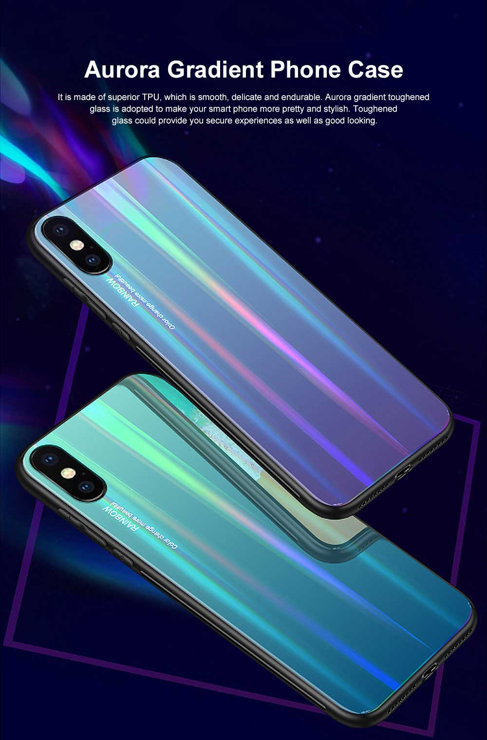 Aurora Gradient Phone Case, Toughened Glass Mobile Phone Case, Case Cover with Soft Edge, Minimalist Phone Case for iPhone 0