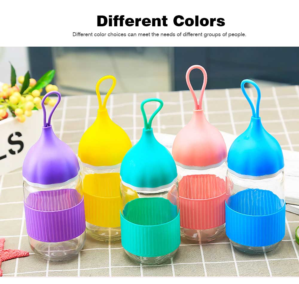 Colorful Glass Drinking Bottle for Students, Leakproof Botttle with Silicone Handle 2