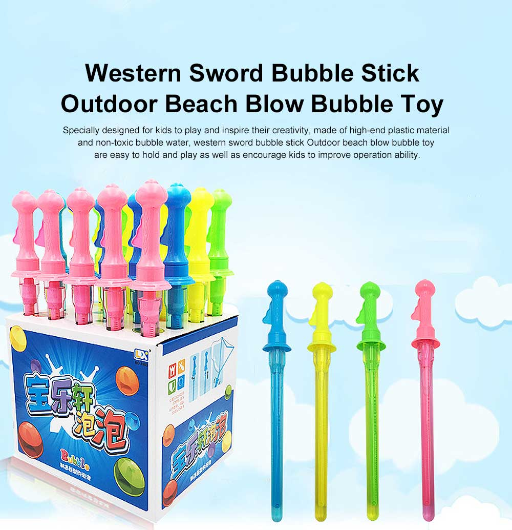 Children's Colorful Bubble Water Western Sword Bubble Stick Outdoor Beach Blow Bubble Toy 15 inch 0