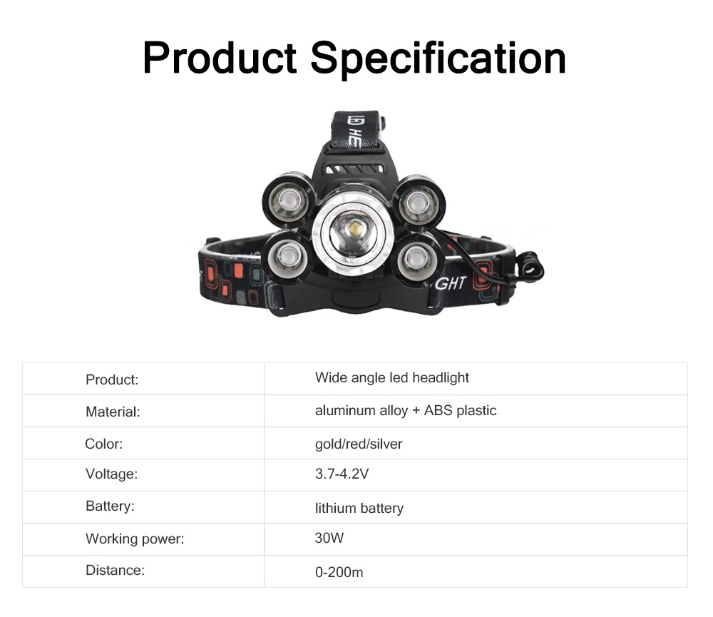 LED Lithium Battery T6 Headlights USB Charging Waterproof Lighting Zoom 5 LED Headlights For Night Ride Fishing 6