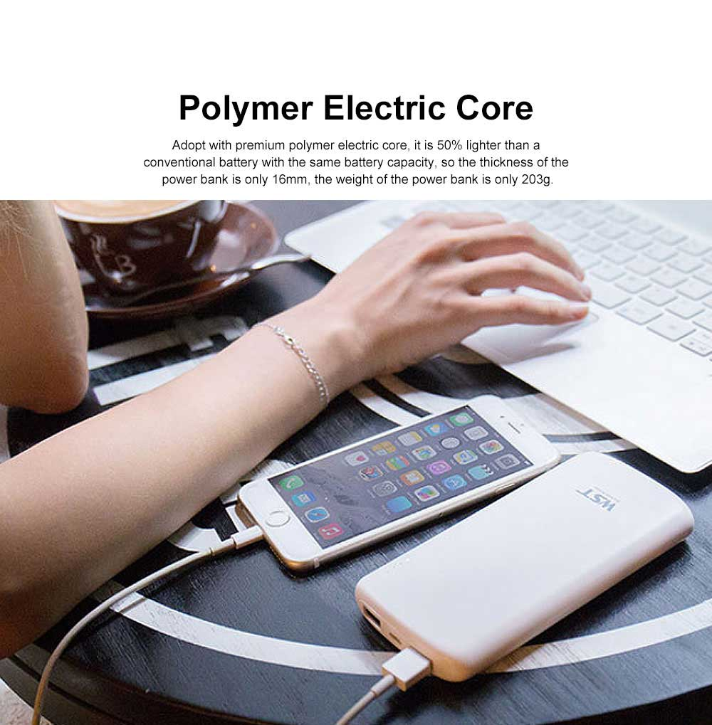 Business Solid Black White Power Bank Portable External Battery Slim Charger Fast Charging for Cell Phone 10000mAh 2