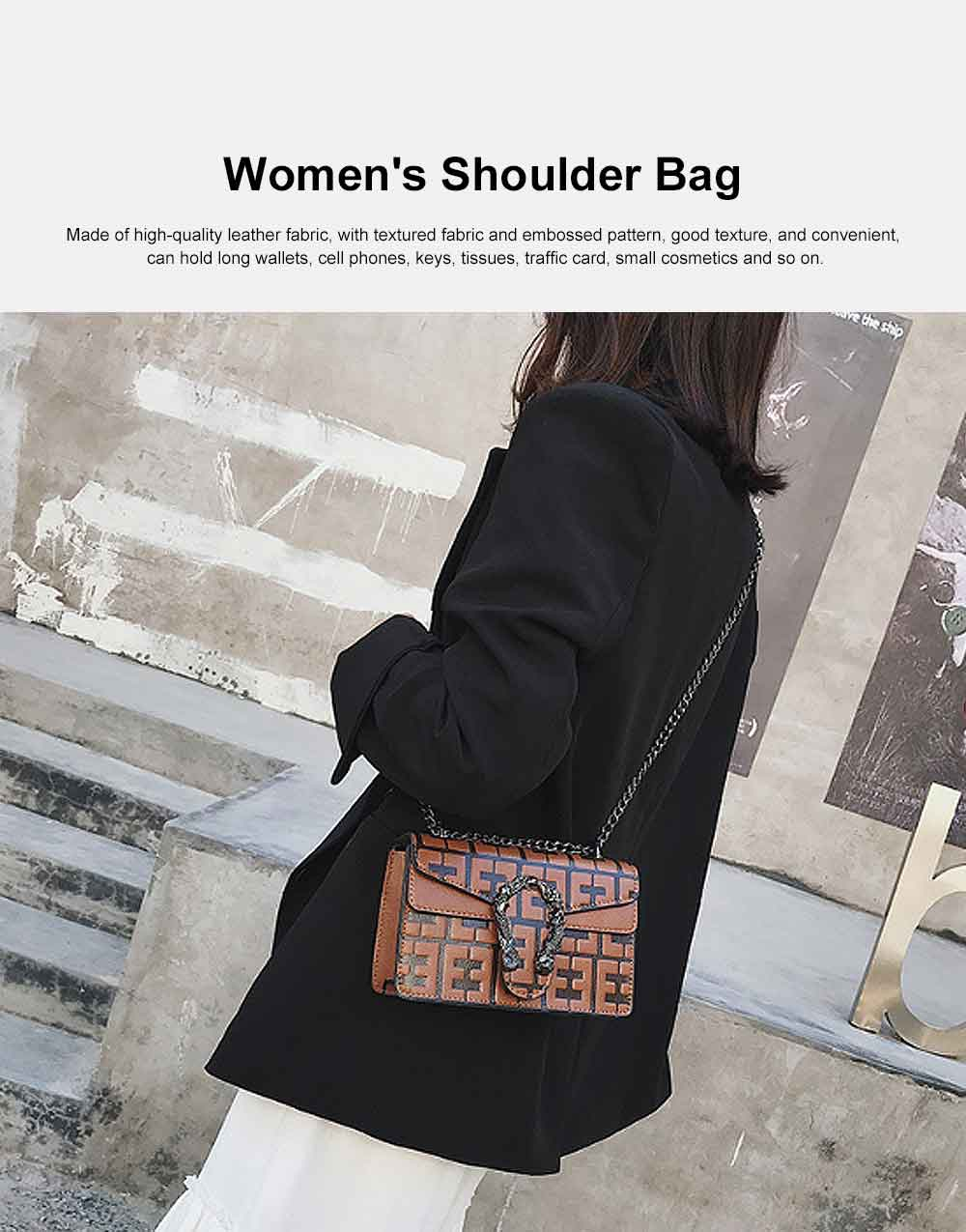 Embossed Pattern Shoulder Bag, Diagonal Bag for Female, with Textured Fabric and Embossed Pattern 2019 0