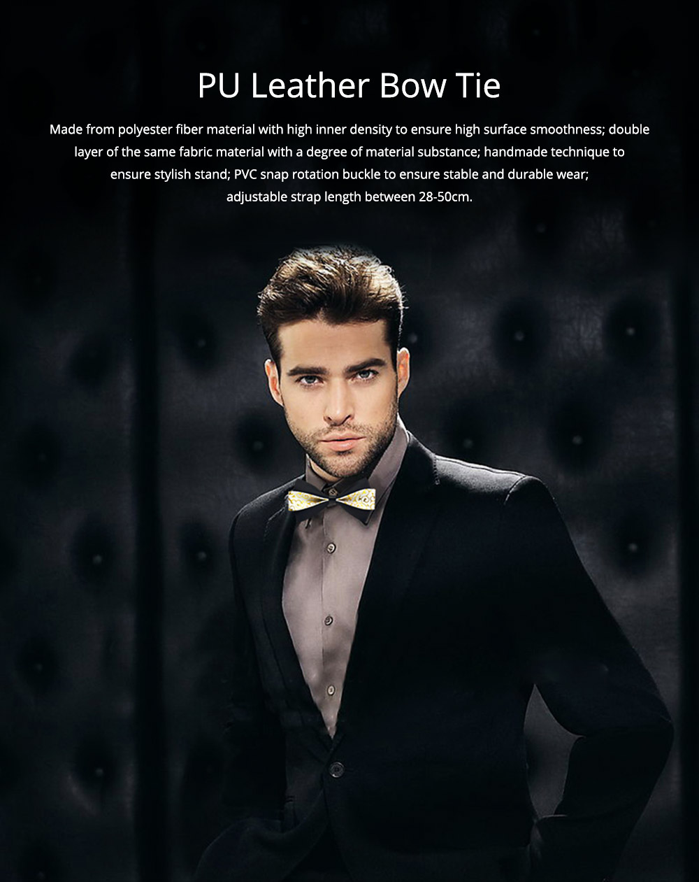 Bow Tie of PU Leather for Wedding Business Suit Bow Tie Fashionable British Style Elviro Tie Bridegroom Groomsman Used Bow Tie 0