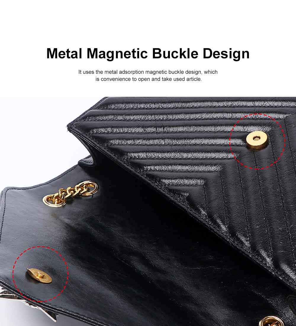 First Layer Cowhide Handbag, New Fashion Star Shoulder Diagonal Bag, with Metal Magnetic Buckle Design 2