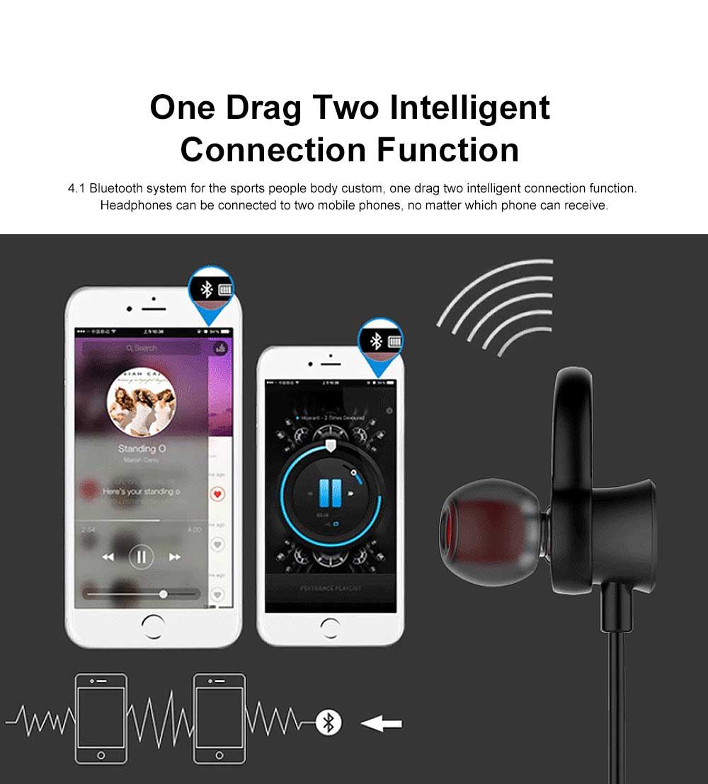 Unique Host Headset Separation Wireless CSR4.1 Bluetooth Earphone Headphones In-ear Neckband Headset Sports Supplies For iPhone Samsung 5
