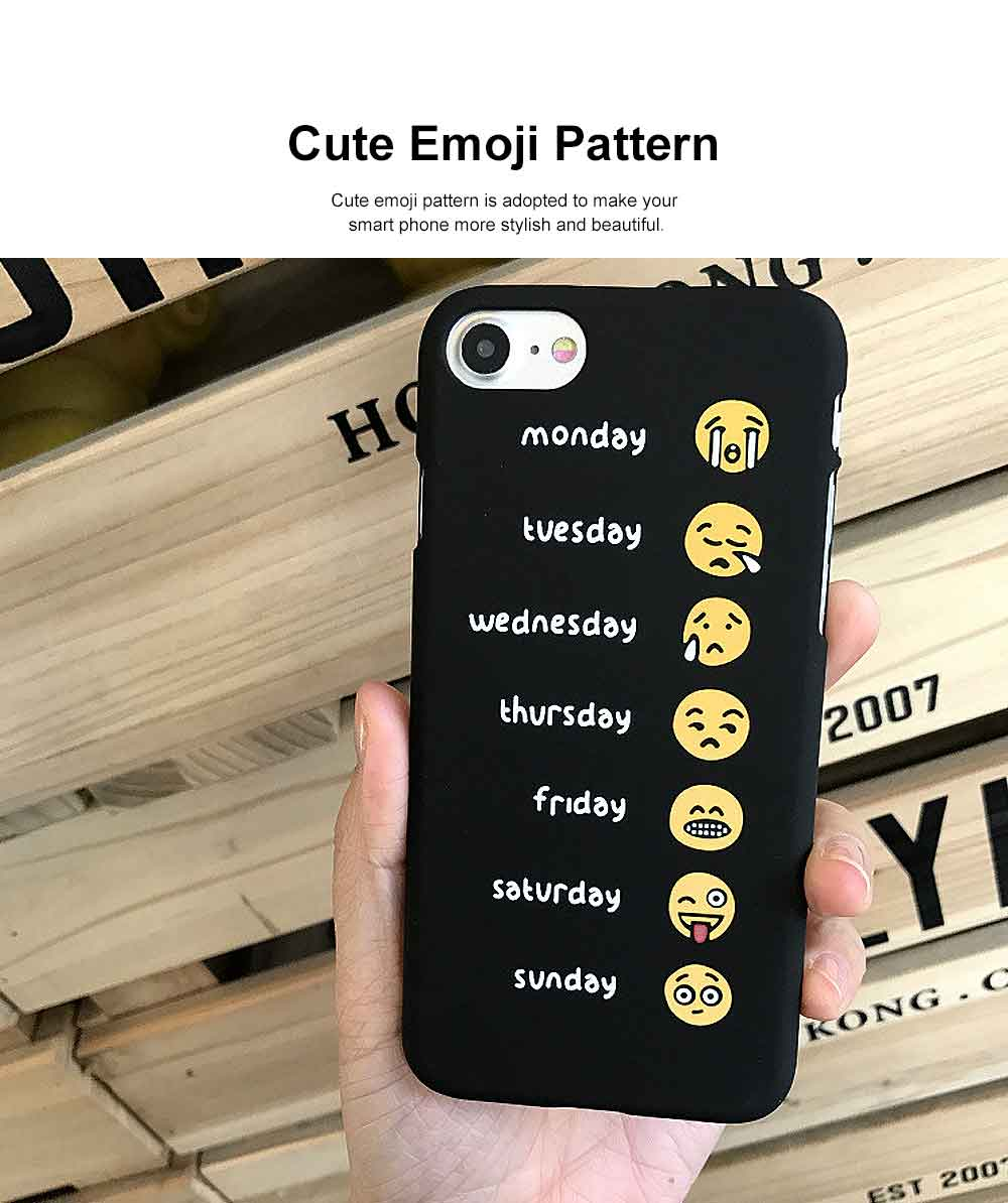 Emoji Phone Case, Cute Weekly List Case Cover, Luxury Smooth Thin Phone Case, PC Hard Case, Creative Case Cover for iPhone 3