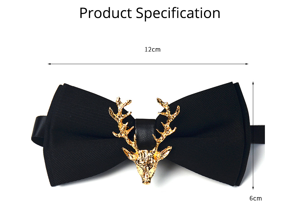 Bow Tie of Double Layer for Wedding Deer Head Decorative Accessory Bow Tie Fashionable British Style Elviro Tie Bridegroom Groomsman Used Bow Time 8