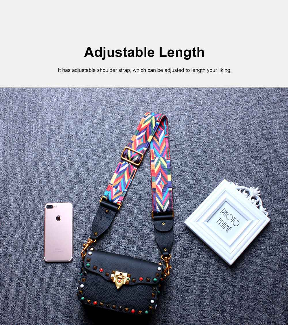 Color Thickened Cotton Wide Ribbon Shoulder Bag, Leather Diagonal Bag for Female 2019 5