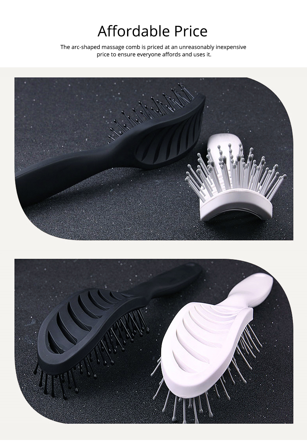 Arc-Shaped Massage Comb for Quick Hairdressing Comb Comfortably Hairdressing Brush Bevel Brush Plastic Massage Comb Hairdressing Comb Brush 5