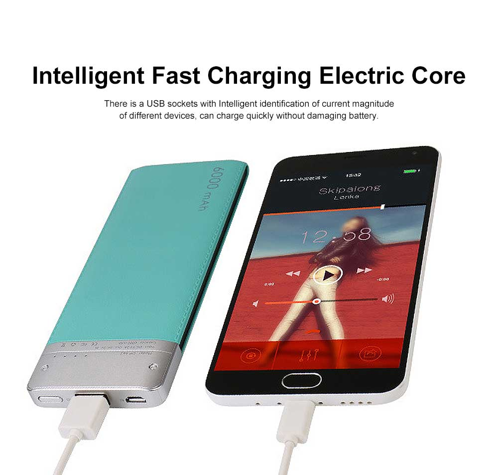 Ultra-thin Fresh Style Contrast Color Simulation Leather 6000mAh Portable External Battery Charger USB Power Bank for Cell Phone 1
