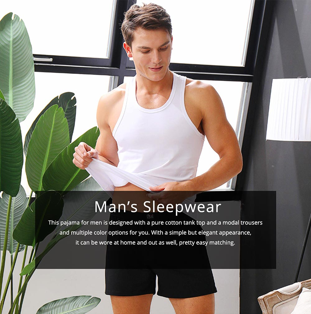 Cotton and Spandex Pajama for Men Comfortable Slippy Material Pure Cotton Tank Top and Modal Shorts Loose Sleepwear Set for Summer and Spring 0