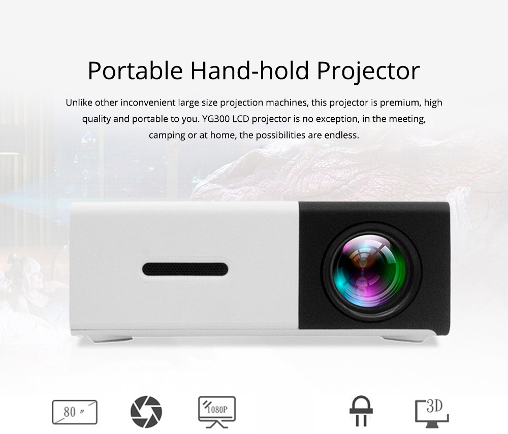 Hand-hold Projector YG300 Mini-sized Domestic Home Theater Support for Multiple Device Connection HD 1080P Projection Machine 0