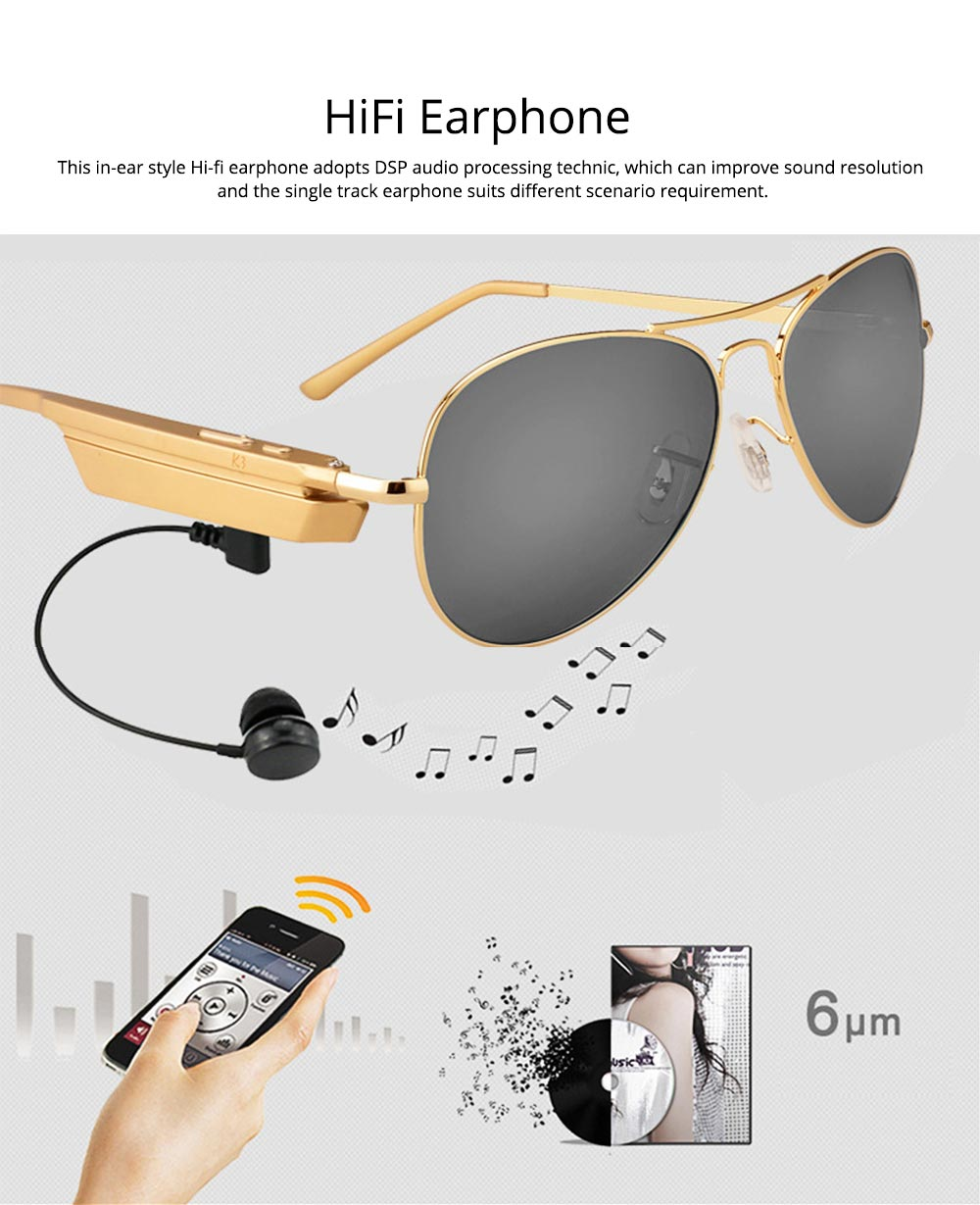 Smart Earphones Bluetooth 4.1 Version Polarized Sunglasses for Music, Broadcast and Phone Calls Long Distance Wireless Connected Smart Earphone 3