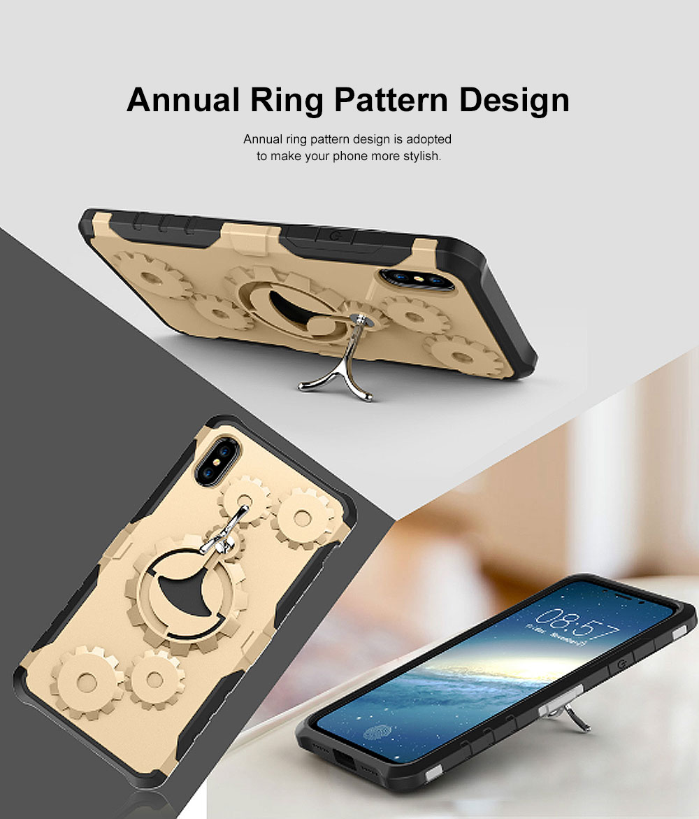 Annual Ring Pattern Phone Case, Multifunctional Phone Case with Ring Bracket, Case Cover with Holder, 360°Full Protection for iPhone 3