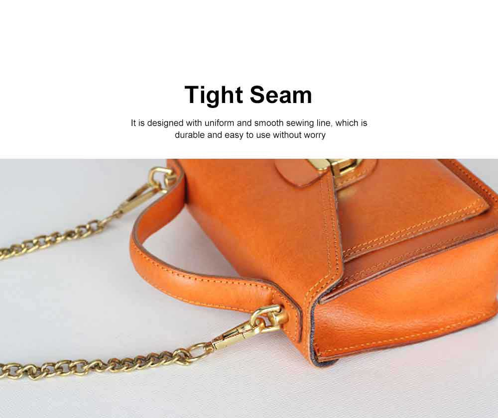 Ladies Retro Shoulder Bag, Vegetable Tanned Leather Diagonal Small Square Bag, with Texture Hardware Lock 3