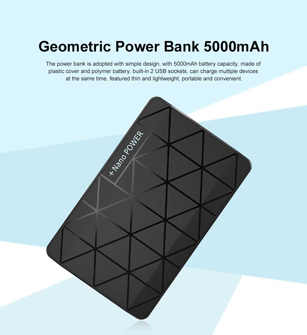 Chic Geometric Black White Ultra-thin 5000mAh Portable External Battery Charger USB Socket Power Bank for Cell Phone 0