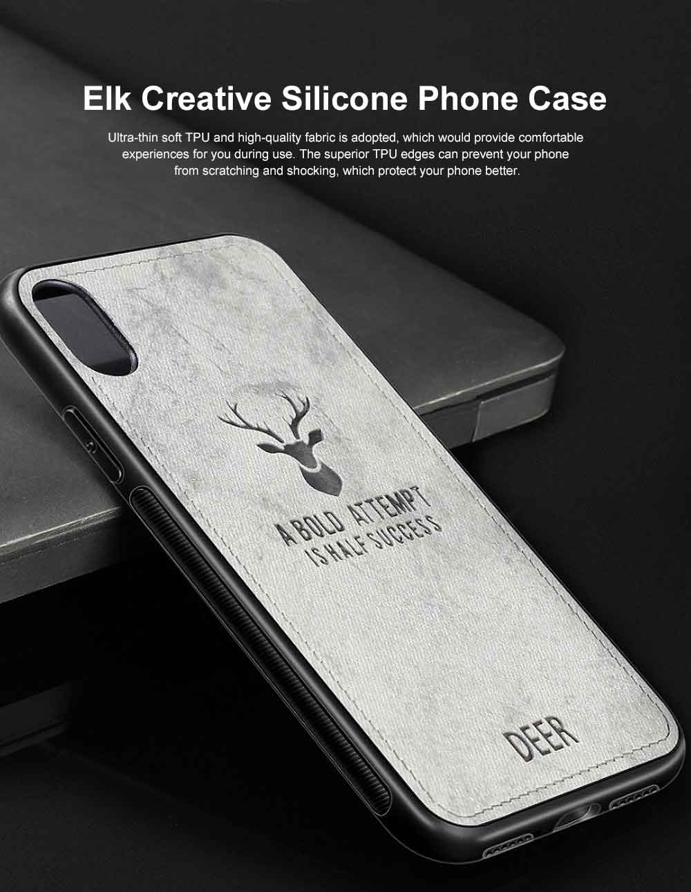 Elk Creative Silicone Phone Case, Creative Case Cover, Characteristic Linen Grain, Soft Silicone Case Cover, Apply for iPhone 0