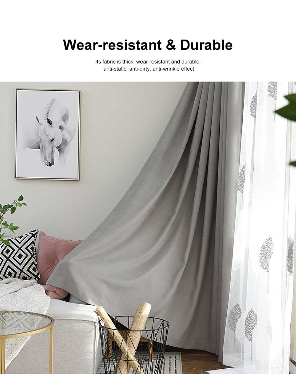5 Color Nordic Style Curtain, Solid Color Curtains for Living Room Bedroom, Modern Minimalist Blackout Curtain 5
