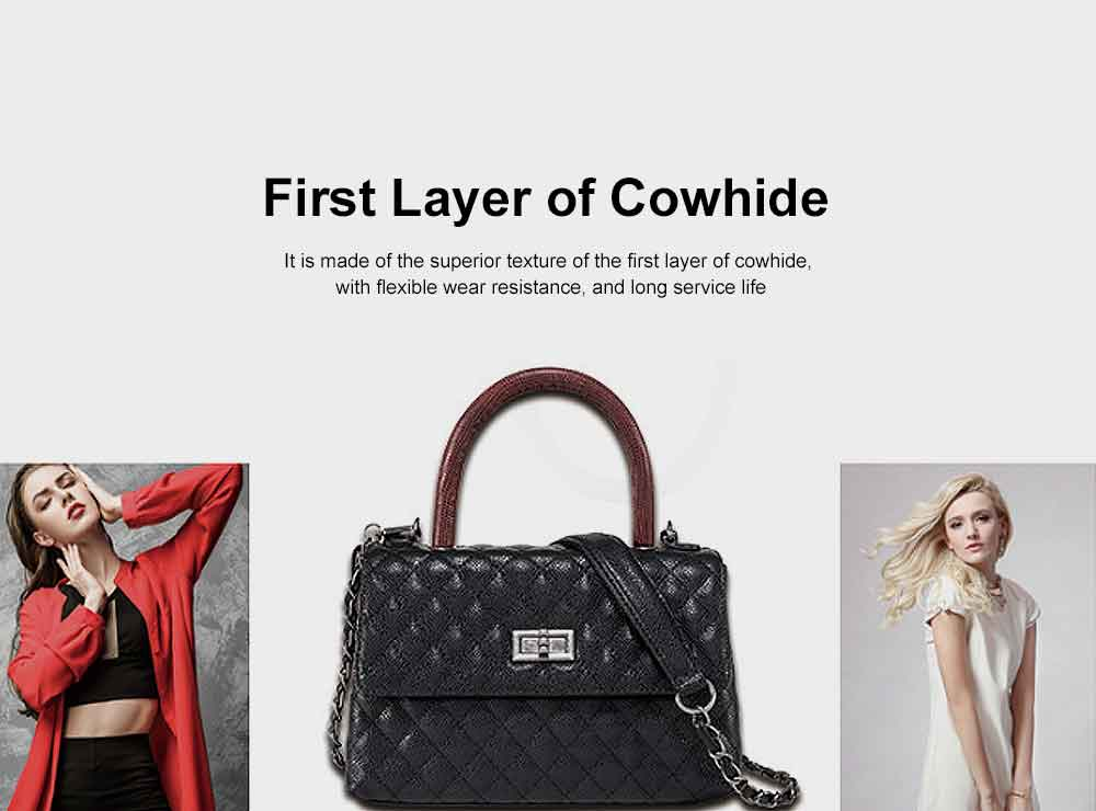 Aristocratic Trend Women's Bag, Top Layer Cowhide Caviar Pattern Shoulder Diagonal Bag 5