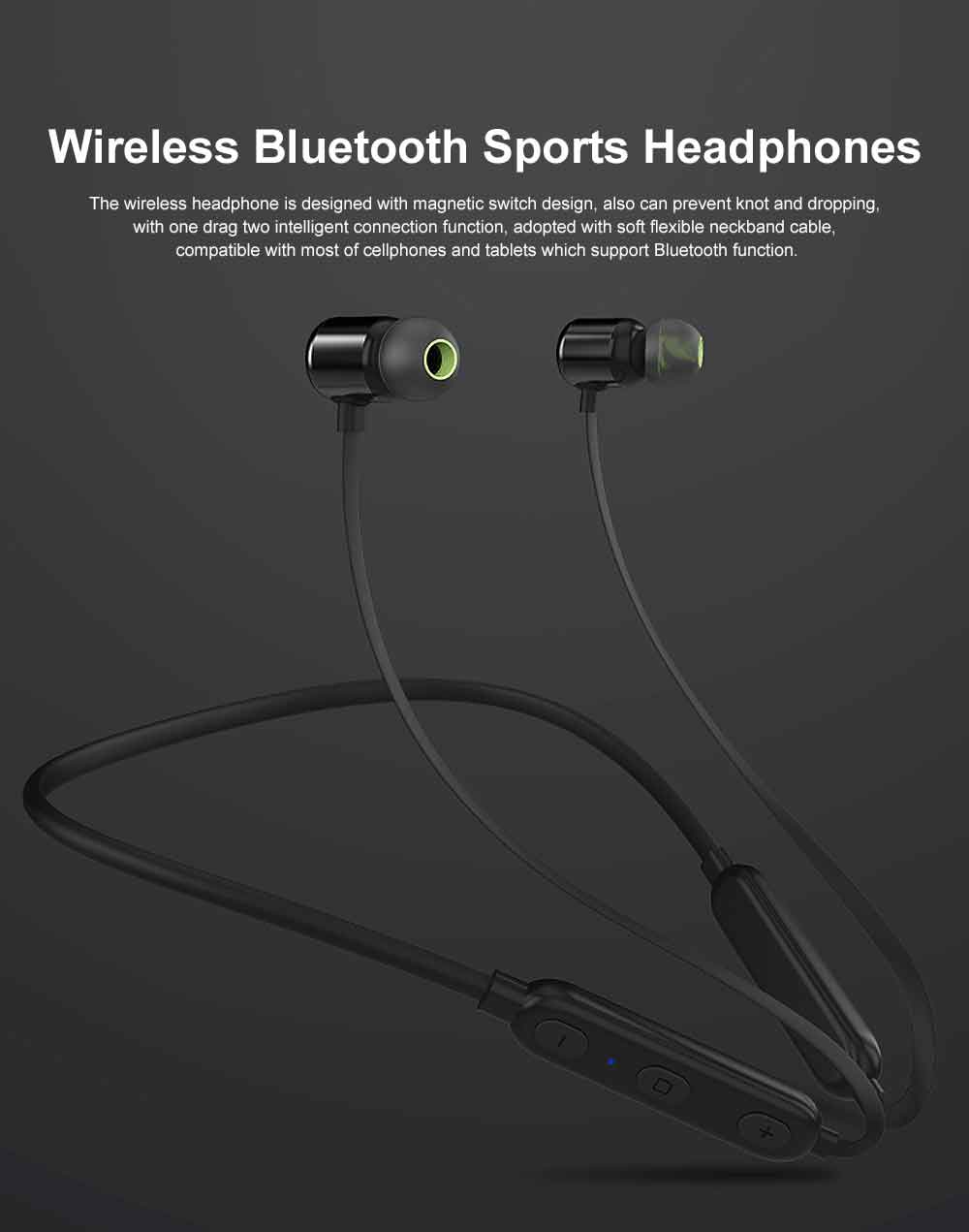 Magnetic Switch Wireless Bluetooth Earphone Headphones In-ear Neckband Headset Sports Supplies For iPhone Samsung 0