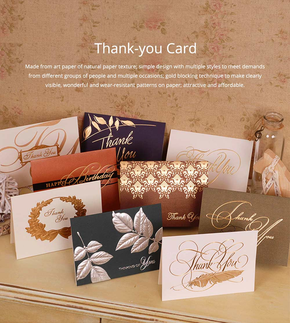 Thank-you Card for Business Purpose Birthday Card Christmas Card Retro Style New Year Card High Art Gold Blocking Thank-you Card 0