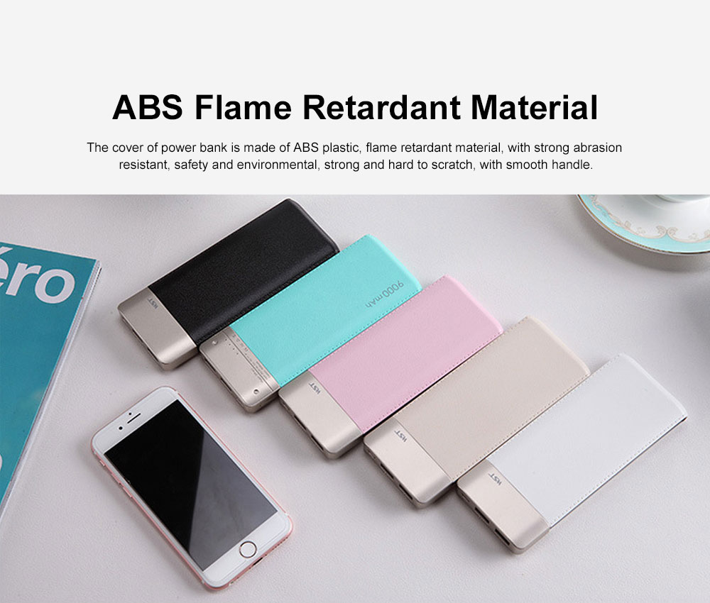 Fresh Style Contrast Color Simulation Leather 9000mAh Digital Display Portable External Battery Charger Dual USB Power Bank for Cell Phone 2