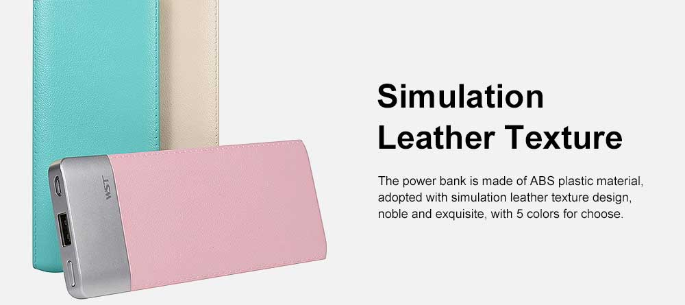 Ultra-thin Fresh Style Contrast Color Simulation Leather 6000mAh Portable External Battery Charger USB Power Bank for Cell Phone 6