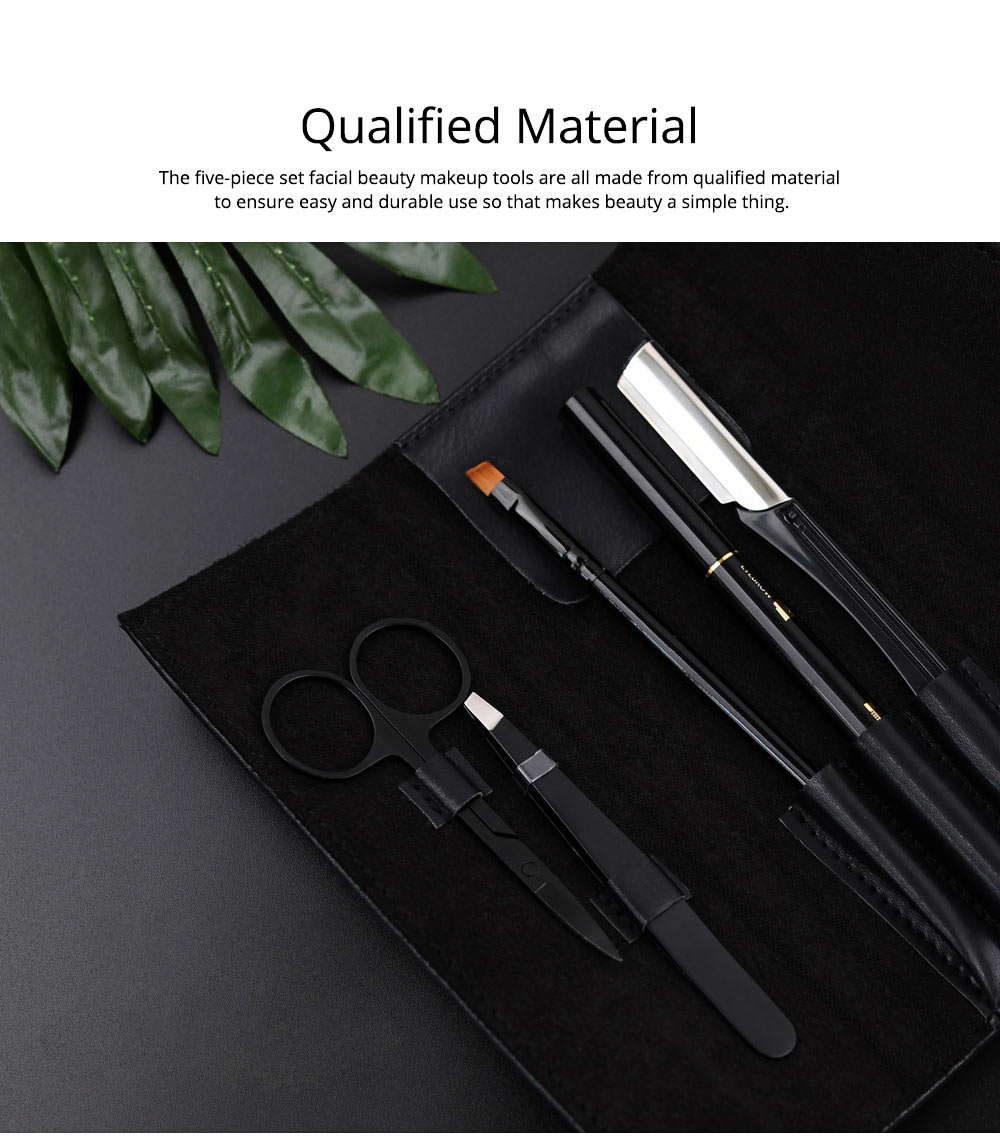 Eyebrow Trimmer Set for Gentleman Eyebrow Pencil Eyebrow Tweezer Complete Five-piece Set for Beauty Makeup Tools Beginner Waterproof Sweatproof Eyebrow Penciling Tools 1