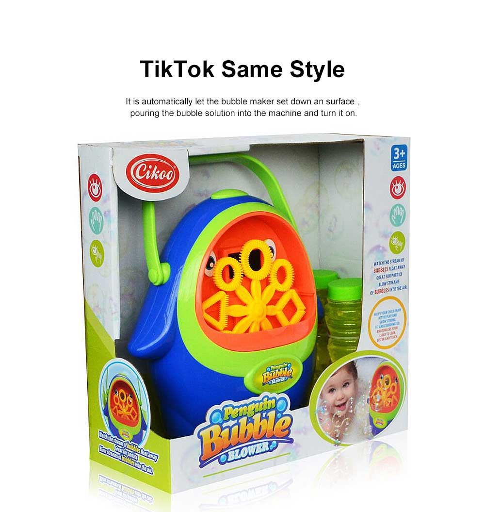 Cartoon Penguin Bubble Machine Children's TikTok Same Paragraph Blowing Bubble Toy( Send 2 Bottles Size) 2