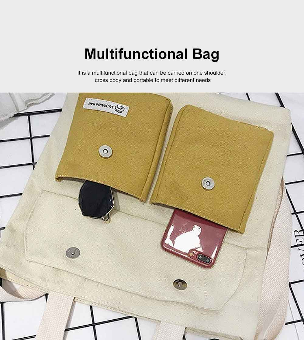 Literary Small Fresh Style Thickened Canvas Shoulder Bag, Fashion Female Student Messenger Bag 3