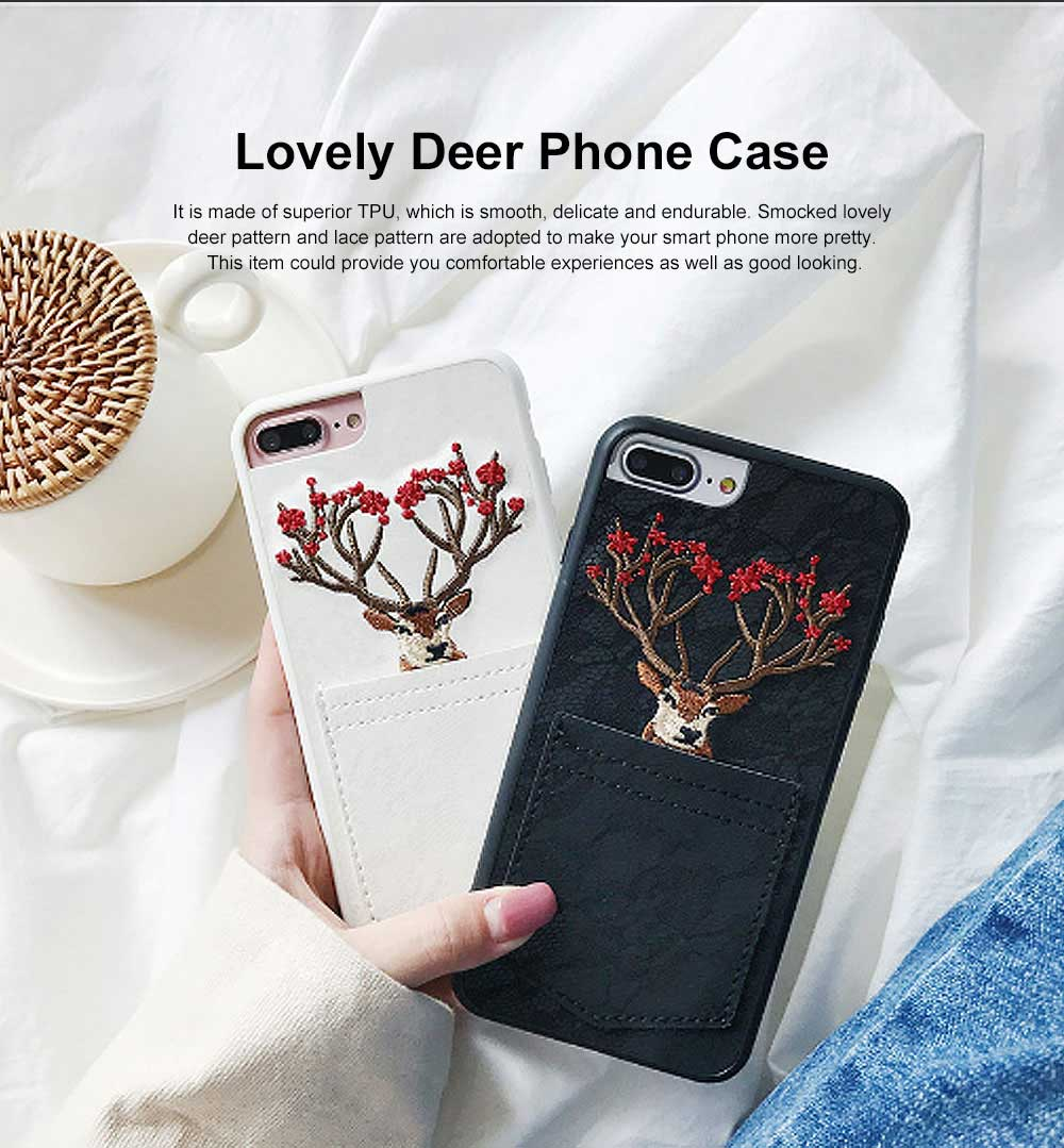 Lovely Deer Phone Case for iPhone, Cartoon Lace Pattern Case Cover, Embroidery, Smocked Case Cover with Leather Pocket Decoration 0