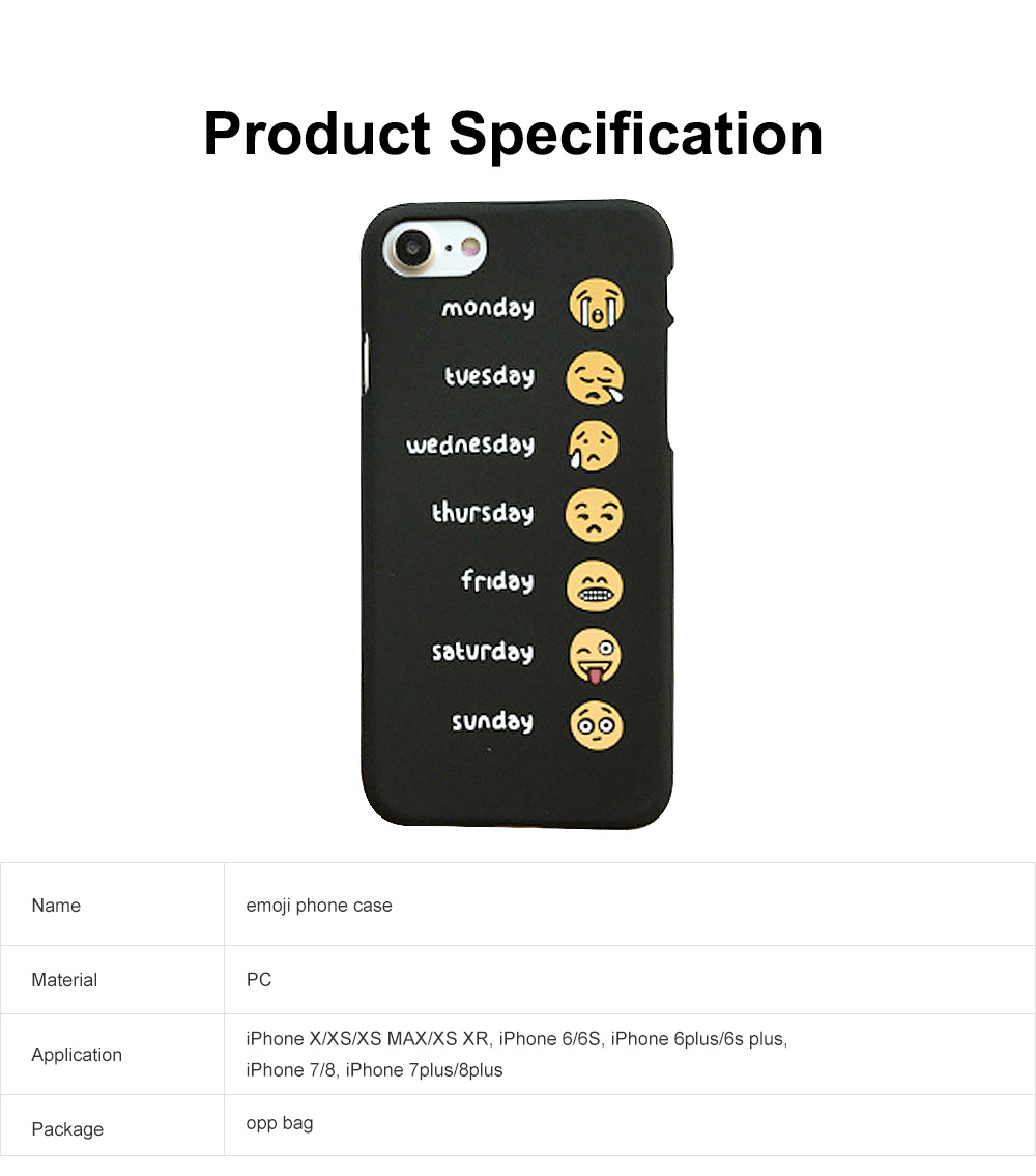 Emoji Phone Case, Cute Weekly List Case Cover, Luxury Smooth Thin Phone Case, PC Hard Case, Creative Case Cover for iPhone 6