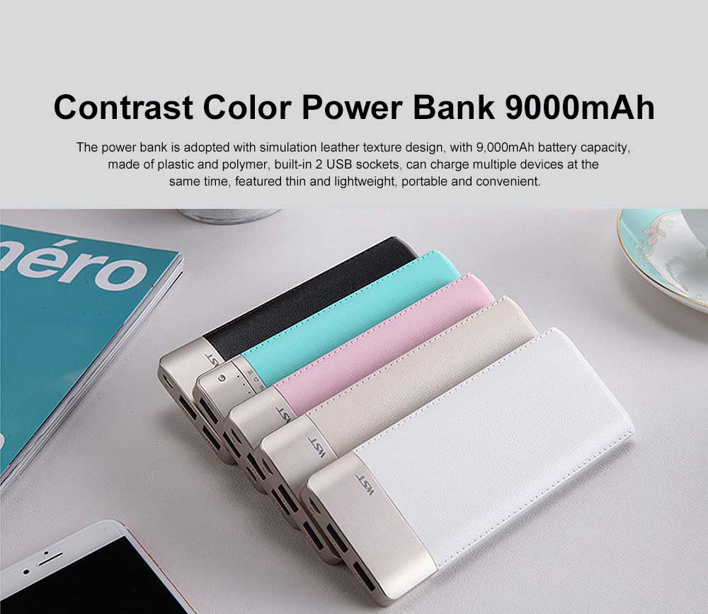 Fresh Style Contrast Color Simulation Leather 9000mAh Digital Display Portable External Battery Charger Dual USB Power Bank for Cell Phone 0
