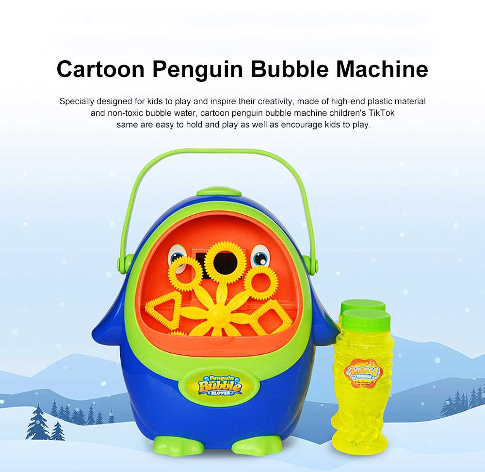 Cartoon Penguin Bubble Machine Children's TikTok Same Paragraph Blowing Bubble Toy( Send 2 Bottles Size) 0
