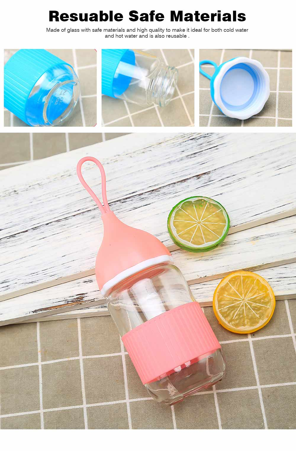 Colorful Glass Drinking Bottle for Students, Leakproof Botttle with Silicone Handle 1