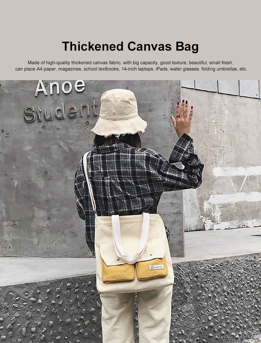 Literary Small Fresh Style Thickened Canvas Shoulder Bag, Fashion Female Student Messenger Bag 0