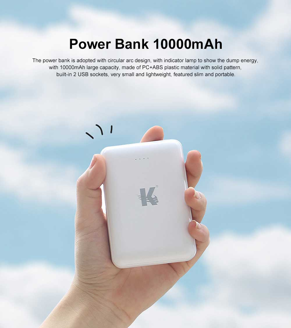 Exquisite Mini Black White Pocket External Battery Fireproof ABS Charger USB Power Bank for Cell Phone 10000mAh 0