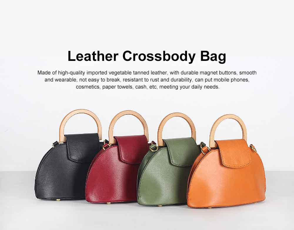 Leather Crossbody Bag, One-shoulder Retro Ladies Bag, with Metal Magnet Buttons with Single Shoulder Rope Handle Design 0