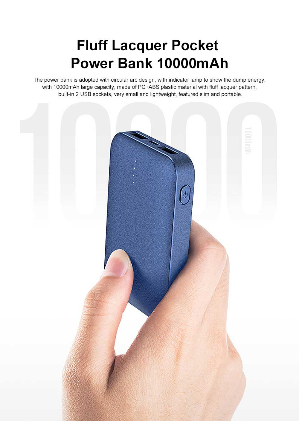 Portable Ultra Mini Business Fluff Lacquer Pocket External Battery ABS Charger Dual USB Power Bank for Cell Phone 10000mAh 0
