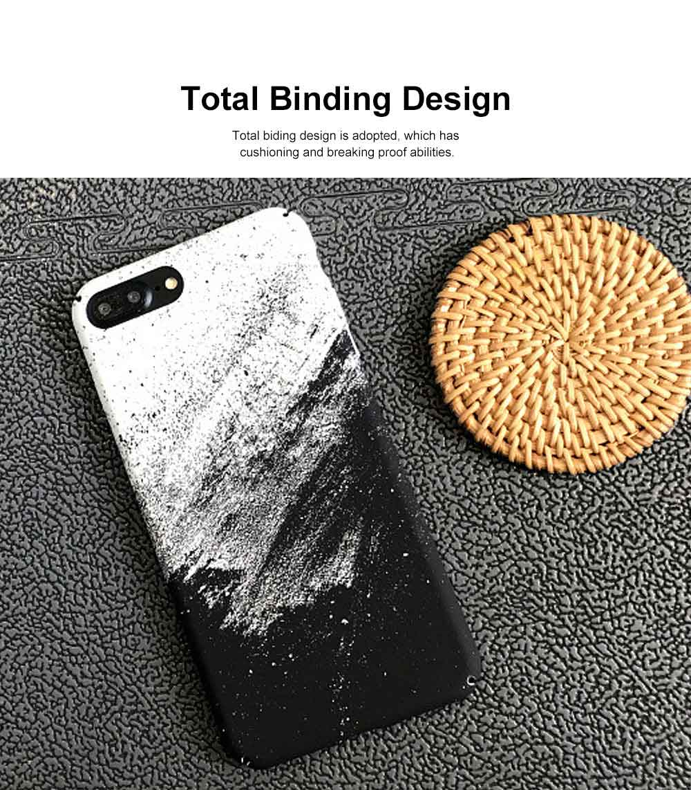 Black White Sand Painting Phone Case, Minimalist PC Hard Case for iPhone, Luxury Ultra Thin, 360°Full Protection 3