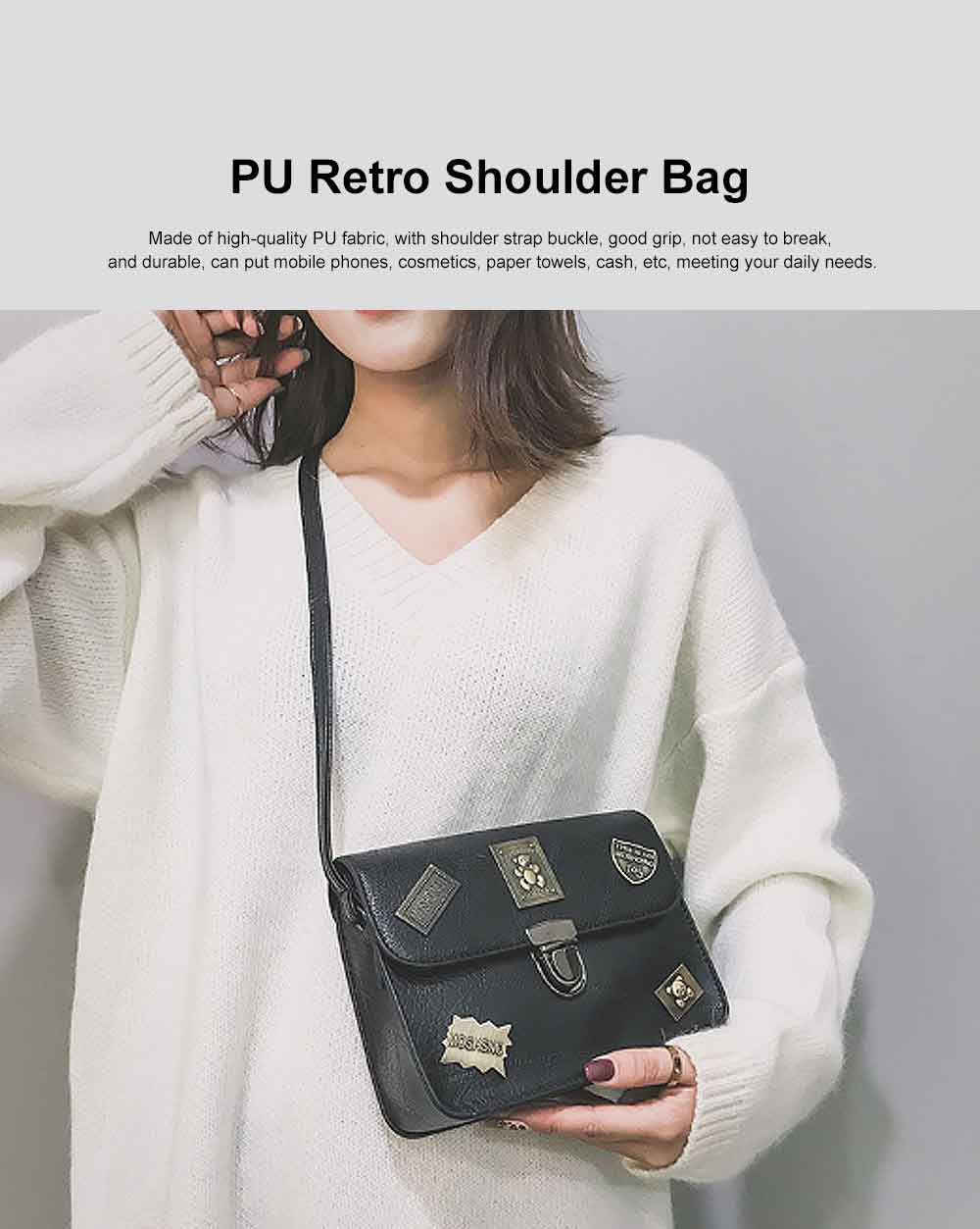 PU Retro Shoulder Bag, Ladies diagonal Bag, with Good Quality Lining, Shopping, Work, Dating Essential 0