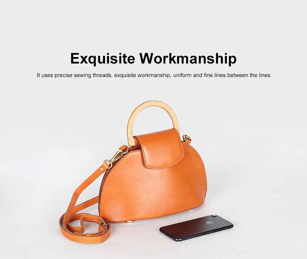Leather Crossbody Bag, One-shoulder Retro Ladies Bag, with Metal Magnet Buttons with Single Shoulder Rope Handle Design 1