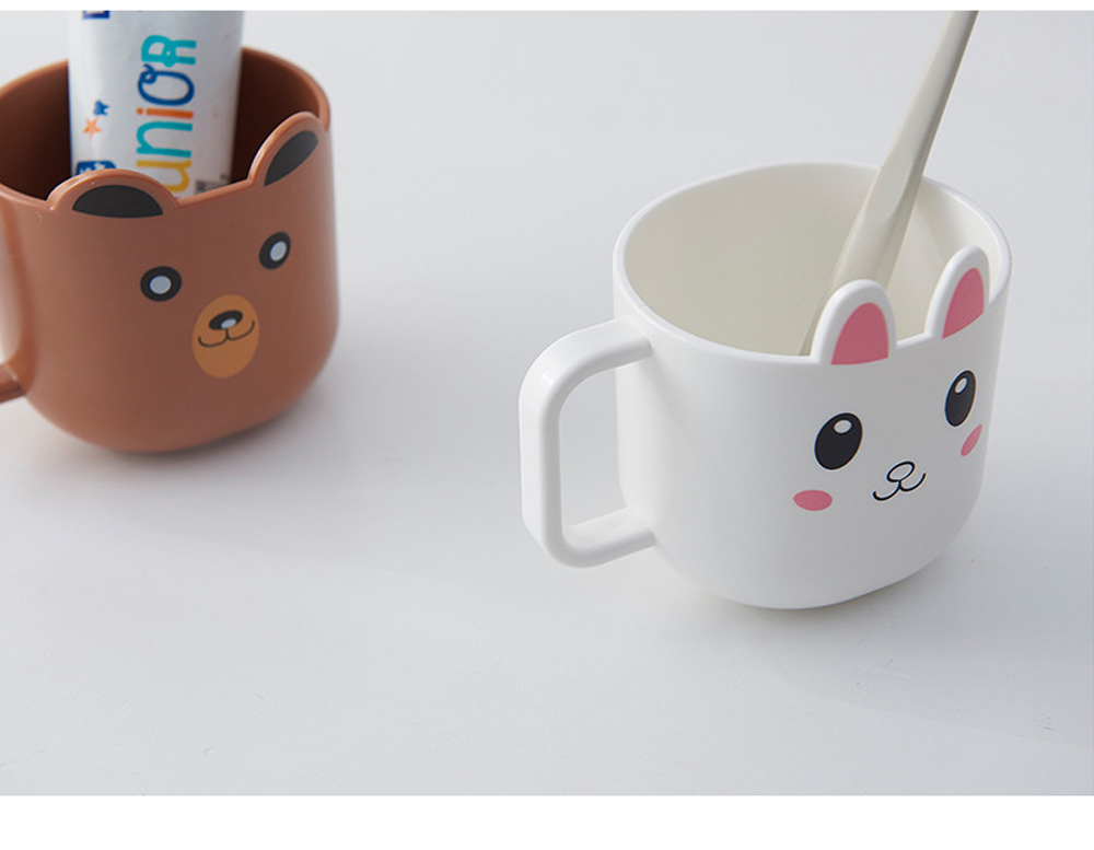 Cartoon Toothbrush Tumbler for Kids Children, Green PP Toothbrush Cup with Handle, Lovely Designed Dental Care Mug 4