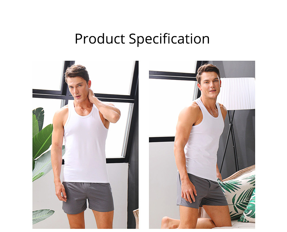 Cotton and Spandex Pajama for Men Comfortable Slippy Material Pure Cotton Tank Top and Modal Shorts Loose Sleepwear Set for Summer and Spring 10