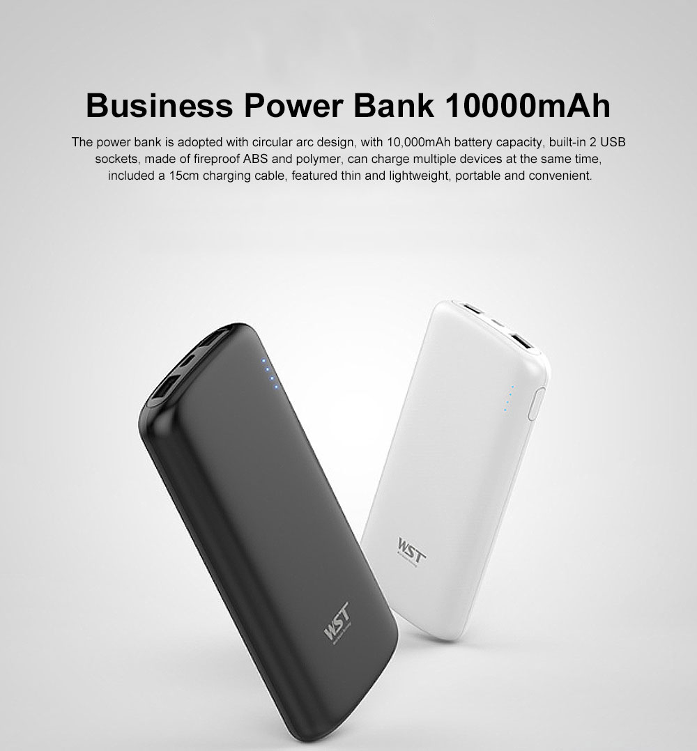 Business Solid Black White Power Bank Portable External Battery Slim Charger Fast Charging for Cell Phone 10000mAh 0