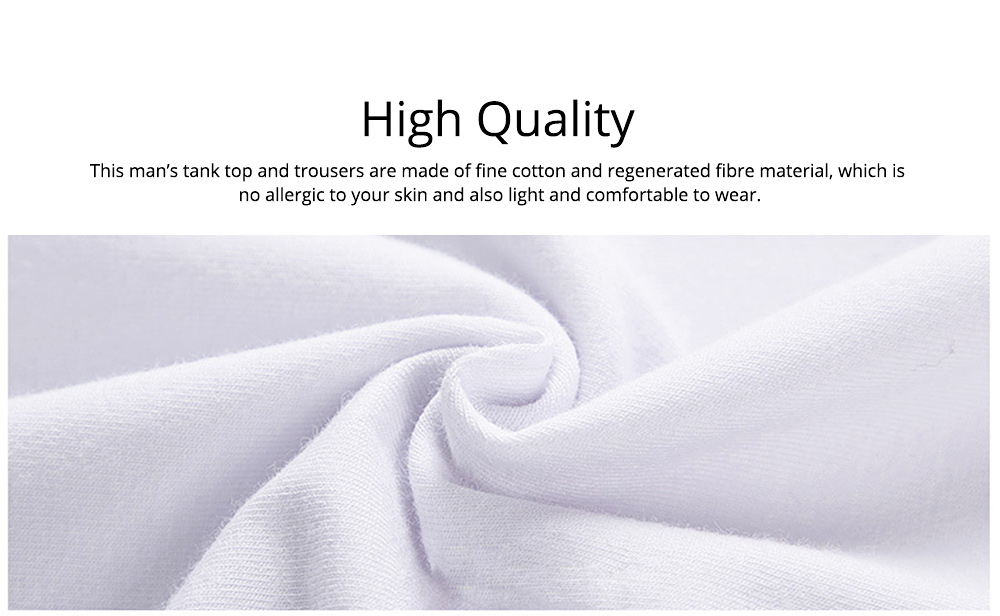 Cotton and Spandex Pajama for Men Comfortable Slippy Material Pure Cotton Tank Top and Modal Shorts Loose Sleepwear Set for Summer and Spring 1