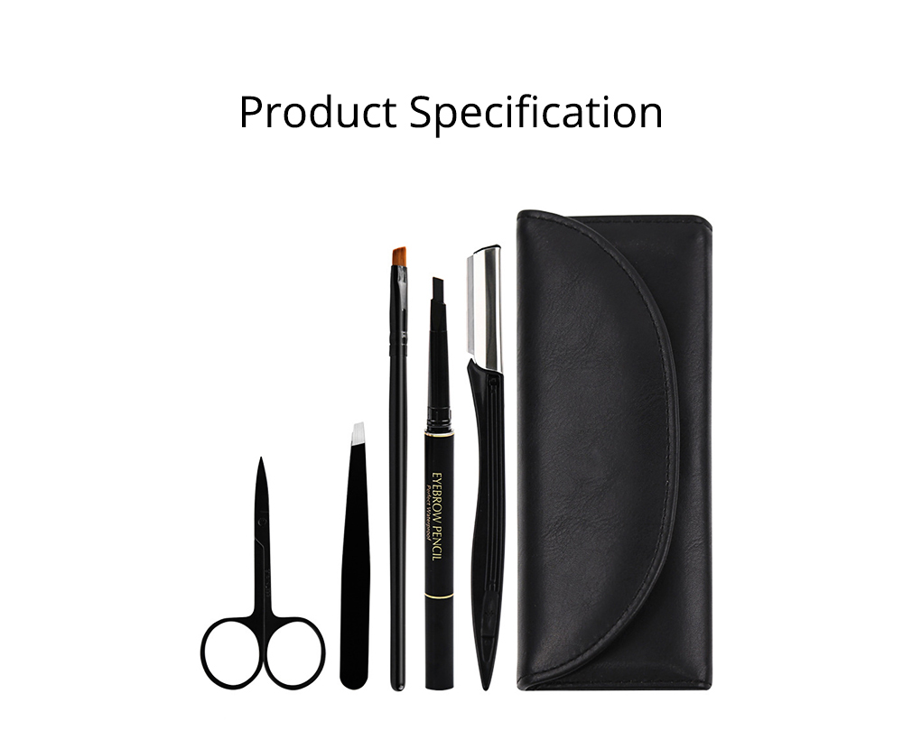 Eyebrow Trimmer Set for Gentleman Eyebrow Pencil Eyebrow Tweezer Complete Five-piece Set for Beauty Makeup Tools Beginner Waterproof Sweatproof Eyebrow Penciling Tools 11