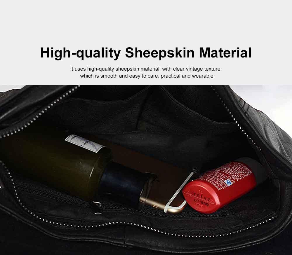 Sheepskin Small Square Bag, Fashion Round Hardware Rivets Shoulder Messenger Bag 4