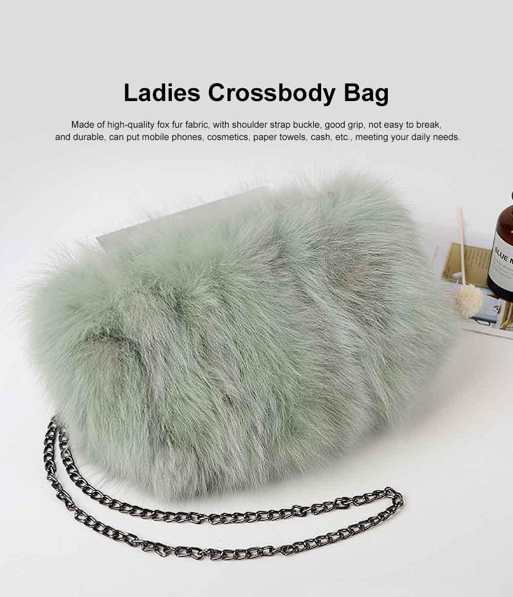 Selected Fox Fur Ladies Shoulder Bag, Beautiful Diagonal Crossing Bag, with Shoulder Strap Buckle 0