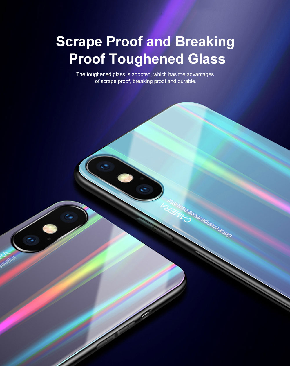 Aurora Gradient Phone Case, Toughened Glass Mobile Phone Case, Case Cover with Soft Edge, Minimalist Phone Case for iPhone 2